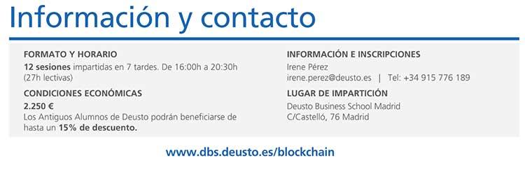 Curso de Blockchain información y contacto